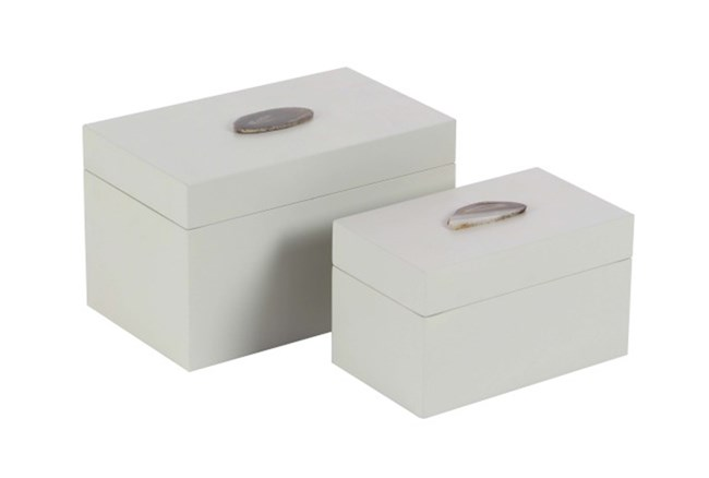 2 Piece Set White Agate Box - 360