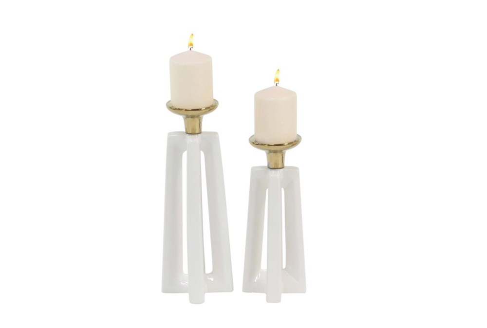 2 Piece Set Gold & White Ceramic Candle Holders