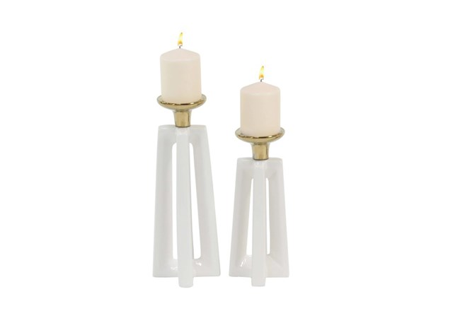 2 Piece Set Gold & White Ceramic Candle Holders - 360