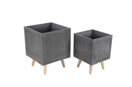 2 Piece Set Fiber Clay Wood Planters
