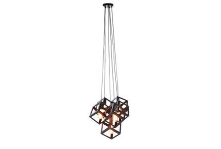 Pendant-Black Metal Cubes 6-Light