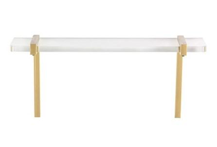 18 Inch Acrylic & Gold Metal Wall Shelf