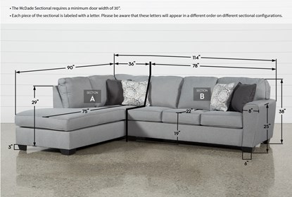 mcdade ash 2 piece 114 sectional with left arm facing armless chaise
