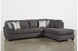 "Mcdade Graphite 2 Piece 114"" Sectional With Right Arm Facing Armless Chaise"
