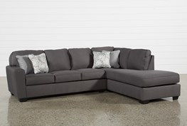"""Mcdade Graphite 2 Piece 114"""" Sectional With Right Arm Facing Armless Chaise"""
