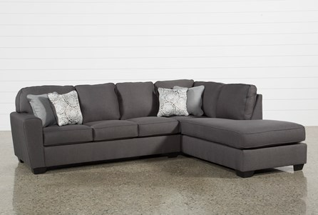 grey sectional with chaise Mcdade Graphite 2 Piece Sectional W/Raf Chaise | Living Spaces grey sectional with chaise