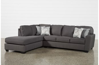 "Mcdade Graphite 2 Piece 114"" Sectional With Left Arm Facing Armless Chaise"