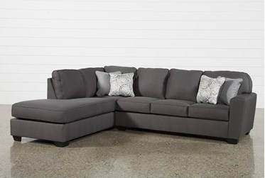 """Mcdade Graphite 2 Piece 114"""" Sectional With Left Arm Facing Armless Chaise"""