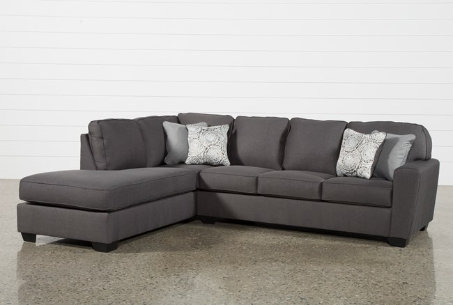 """Mcdade Graphite 2 Piece 114"""" Sectional With Left Arm Facing Armless Chaise - 360"""