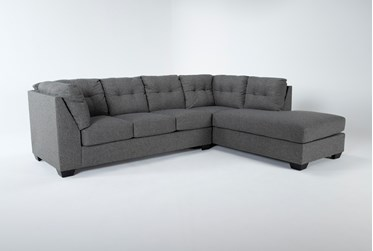 """Arrowmask Charcoal 2 Piece 115"""" Sectional With Sleeper & Right Arm Facing Chaise"""