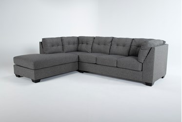 """Arrowmask Charcoal 2 Piece 115"""" Sectional With Sleeper & Left Arm Facing Chaise"""