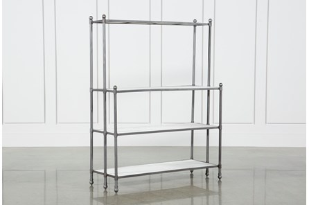 Polished White Marble & Gunmetal Open Bookcase - Main