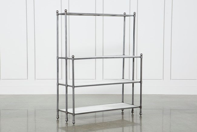 Polished White Marble & Gunmetal Open Bookcase - 360