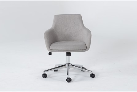 Emery Light Grey Rolling Office Chair, Grey Fabric Desk Chair With Arms