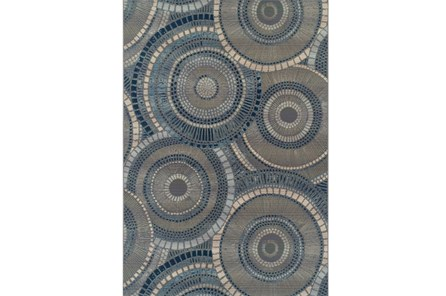 61X84 Outdoor Rug-Blue Pinwheel - Main