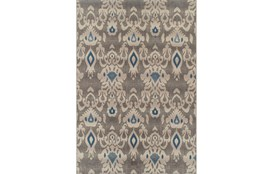 61X84 Outdoor Rug-Grey And Blue Ikat