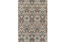 """5'1""""x7' Outdoor Rug-Grey And Blue Ikat"""