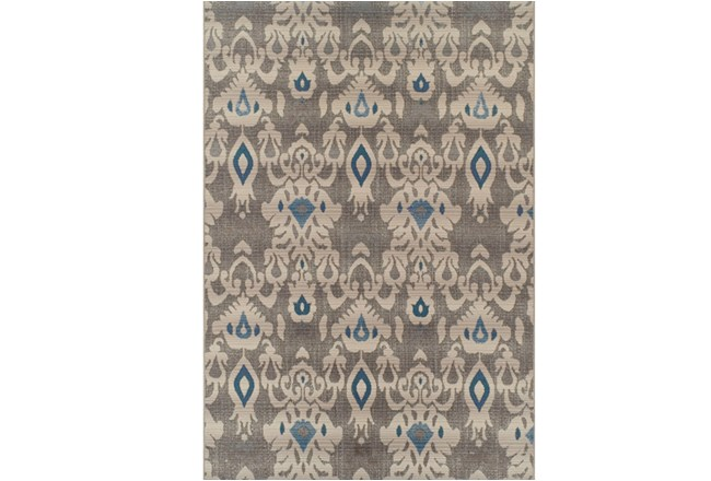61X84 Outdoor Rug-Grey And Blue Ikat - 360