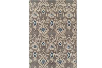 """8'2""""x10' Outdoor Rug-Grey And Blue Ikat"""