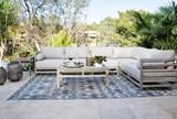 98X120 Outdoor Rug-Grey And Blue Ikat - Room
