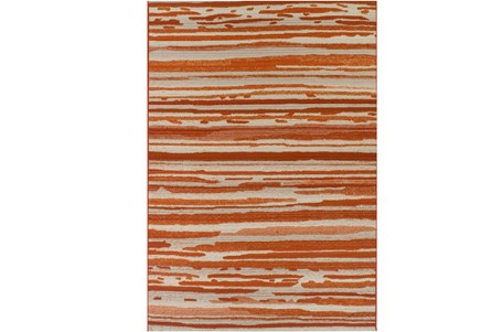 98X120 Outdoor Rug-Orange Waves