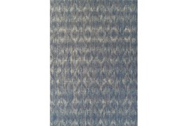 "5'1""x7' Outdoor Rug-Indigo Blue Distressed Damask"