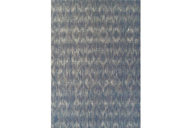 61X84 Outdoor Rug-Indigo Blue Distressed Damask - 360