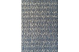 98X120 Outdoor Rug-Indigo Blue Distressed Damask