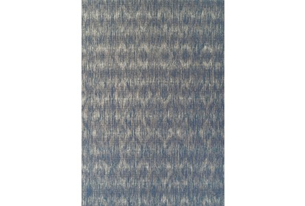 98X120 Outdoor Rug-Indigo Blue Distressed Damask