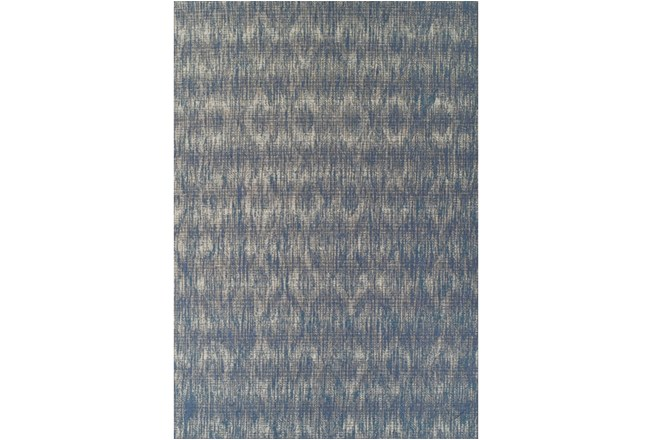 98X120 Outdoor Rug-Indigo Blue Distressed Damask - 360