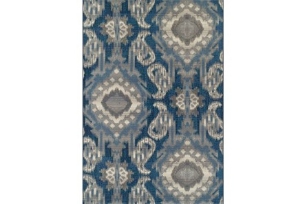 61X84 Outdoor Rug-Blue Large Ikat