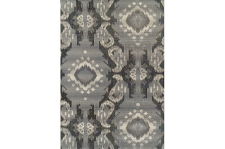 98X120 Outdoor Rug-Grey Large Ikat - Main