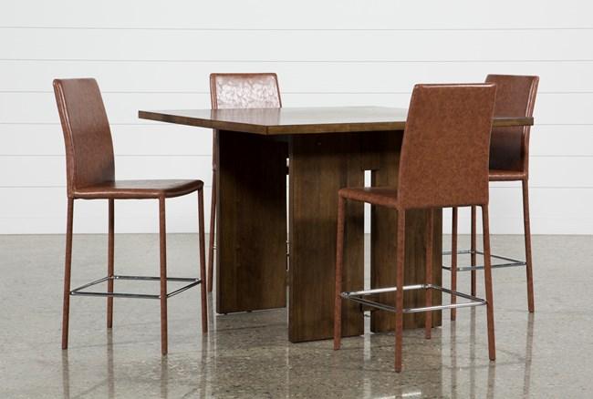 Lansing 5 Piece Counter Set With Hayden Cognac Stools - 360
