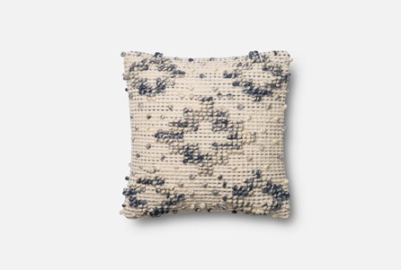 Accent Pillow-Magnolia Home Boucle Diamond Blue/Ivory 18X18 By Joanna Gaines