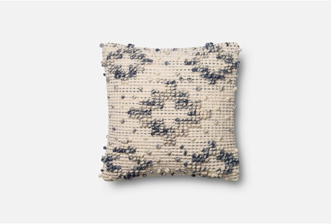 Accent Pillow-Magnolia Home Boucle Diamond Blue/Ivory 18X18 By Joanna Gaines - 360