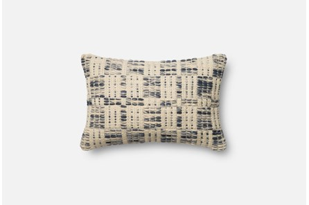 Accent Pillow-Magnolia Home Wool Stitching Blue/Ivory 13X21 By Joanna Gaines