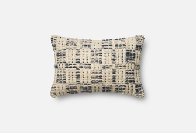 Accent Pillow-Magnolia Home Wool Stitching Blue/Ivory 13X21 By Joanna Gaines - 360
