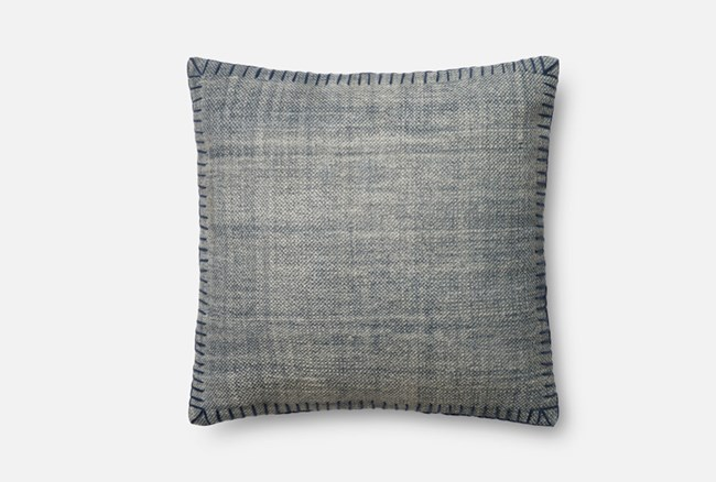 Accent Pillow-Magnolia Home Whipstitch Blue/Blue 22X22 By Joanna Gaines - 360
