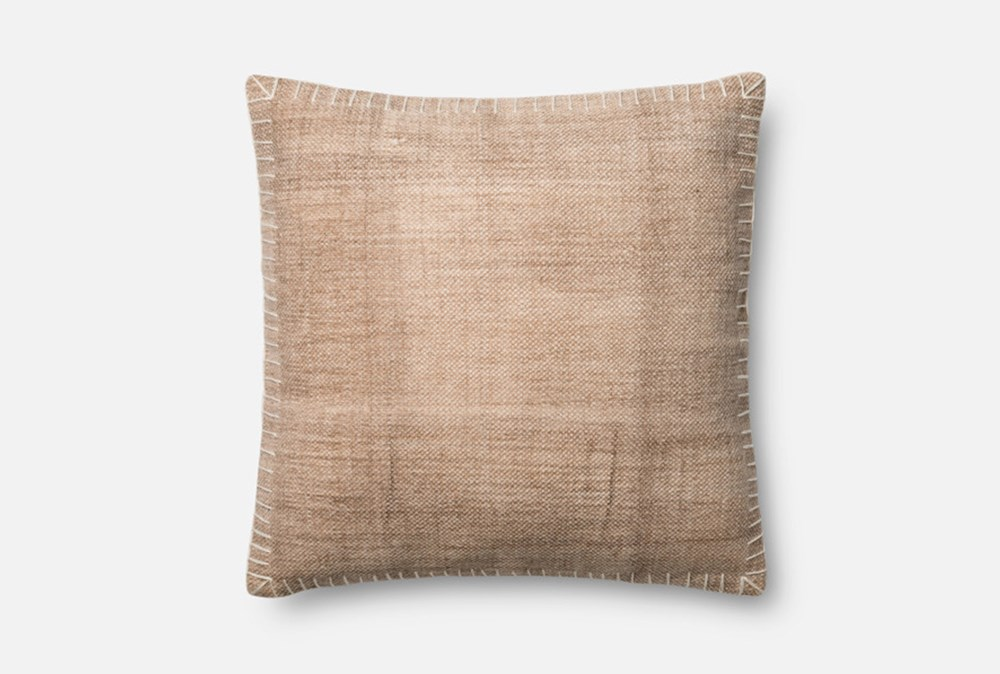 Accent Pillow-Magnolia Home Whipstitch Beige/White 22X22 By Joanna Gaines