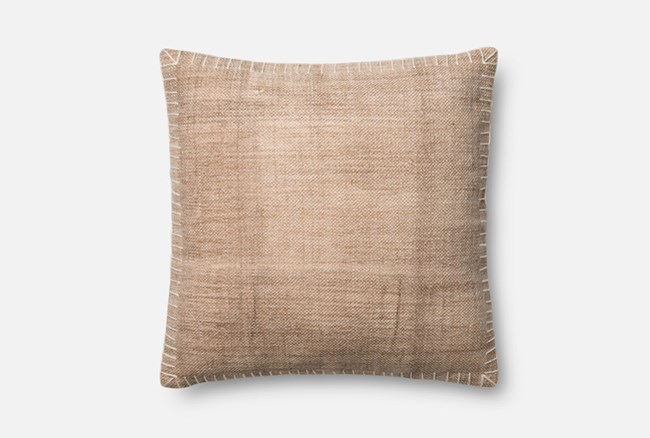 Accent Pillow-Magnolia Home Whipstitch Beige/White 22X22 By Joanna Gaines - 360