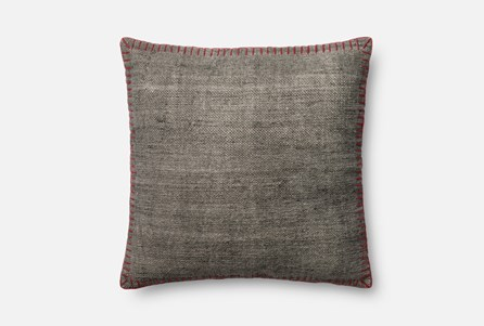 Accent Pillow-Magnolia Home Whipstitch Grey/Red 22X22 By Joanna Gaines