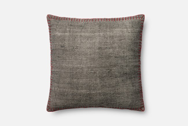Accent Pillow-Magnolia Home Whipstitch Grey/Red 22X22 By Joanna Gaines - 360