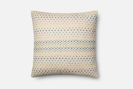 Accent Pillow-Magnolia Home Cotton Cross Stitch Blue/Multi 22X22 By Joanna Gaines