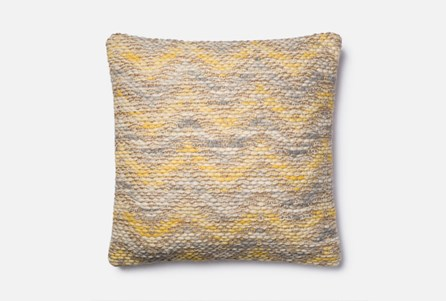 Accent Pillow-Magnolia Home Jute Blend Chevron Yellow/Grey 22X22 By Joanna Gaines