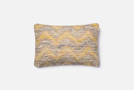 Accent Pillow-Magnolia Home Jute Blend Chevron Yellow/Grey 13X21 By Joanna Gaines