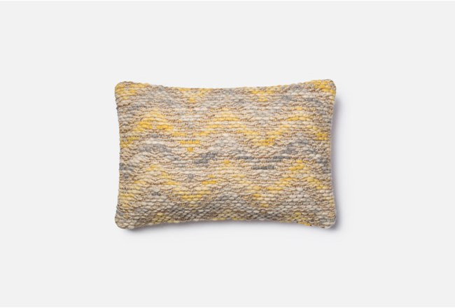 Accent Pillow-Magnolia Home Jute Blend Chevron Yellow/Grey 13X21 By Joanna Gaines - 360