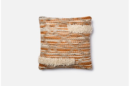 Accent Pillow-Magnolia Home Asymetrical Fringe Orange/Ivory 18X18 By Joanna Gaines