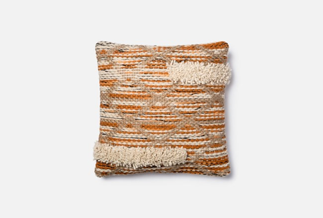 Accent Pillow-Magnolia Home Asymetrical Fringe Orange/Ivory 18X18 By Joanna Gaines - 360