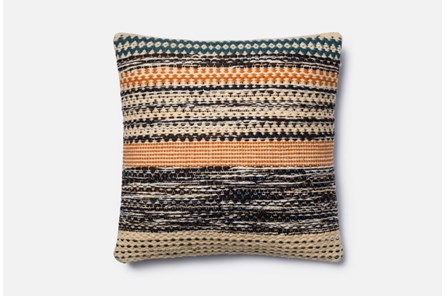 Accent Pillow-Magnolia Home Patchwork Stripes Orange/Blue 22X22 By Joanna Gaines