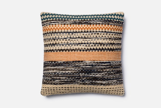 Accent Pillow-Magnolia Home Patchwork Stripes Orange/Blue 22X22 By Joanna Gaines - 360